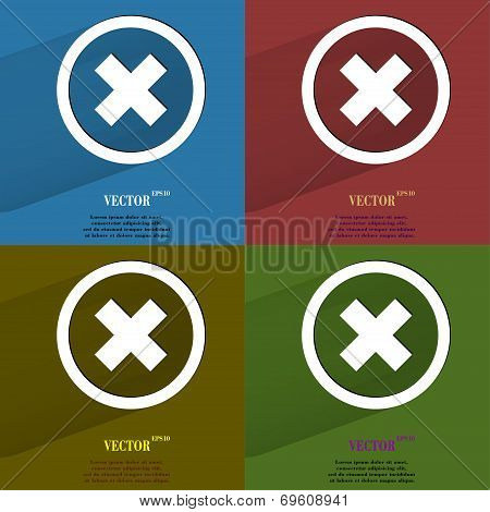 Color set cancel. Flat modern web button with long shadow and space for your text.