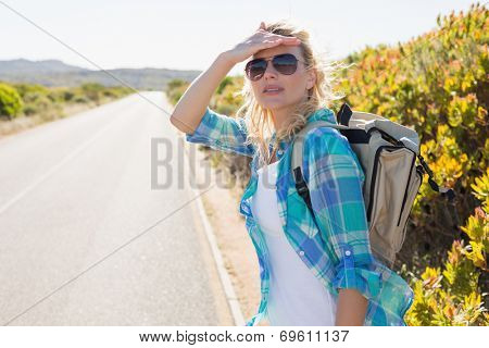 Attractive blonde hitch hiking on rural road on a sunny day