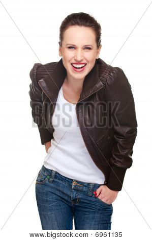 Cheerful Woman In Jacket