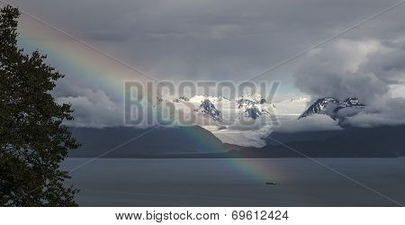 Rainbow At Grewingk Glacier