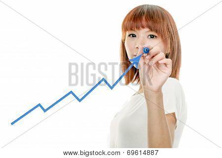 Asian Woman Drawing Graph On Virtual Board