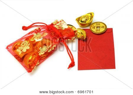 Gold Ingots And Coins In Red Sachet And Red Packet