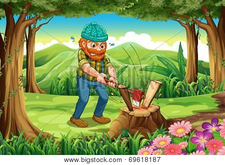 Illustration of a hardworking lumberjack chopping woods at the forest