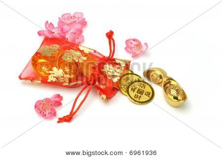 Gold Ingots And Coins In Red Sachet