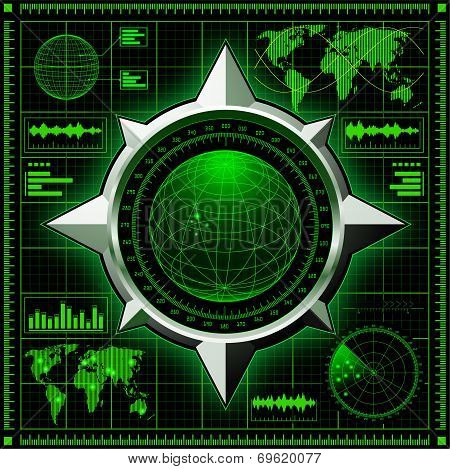 Radar screen with globe