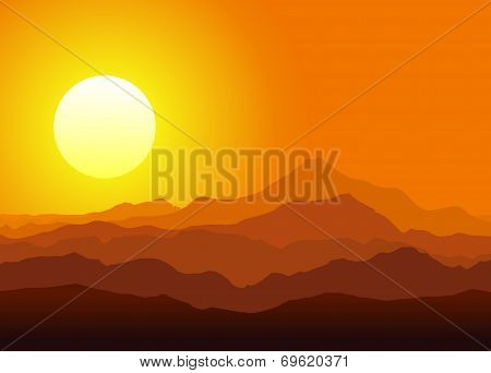 Sunset in the huge mountains
