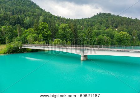 Turquise water of Lech river in Bavarian Alps, Germany
