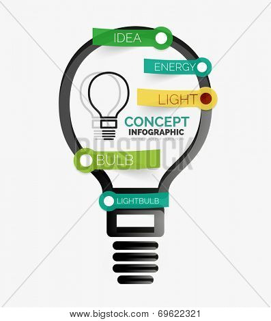 Light bulb infographic concept. Modern flat paper line art design with tags or your options on transparent stickers
