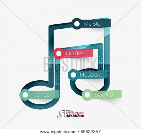 Music note infographic flat concept with tags on sticky notes