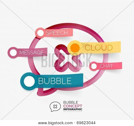 Vector speech bubble infographic concept. Modern line art icon design with cloud tags on transparent sticky notes