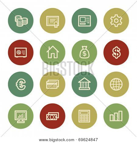 Money web icons, vintage color