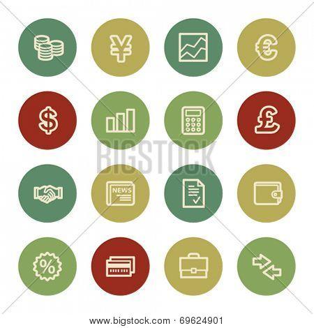 Finance web icons, vintage color