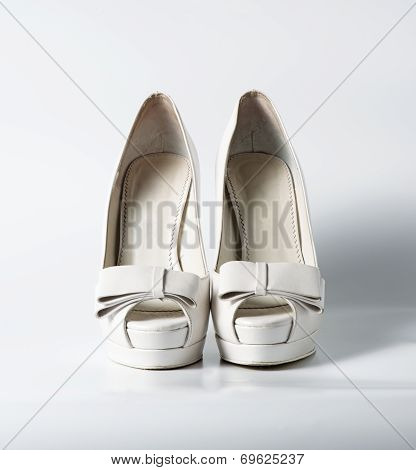Woman White Shoes On White