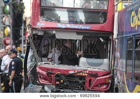 Investigators examine wrecked bus