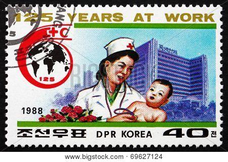 Postage Stamp North Korea 1988 Doctor Examining Child