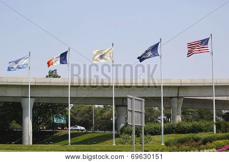 Flags at the entrance to John F. Kennedy International Airport in New York