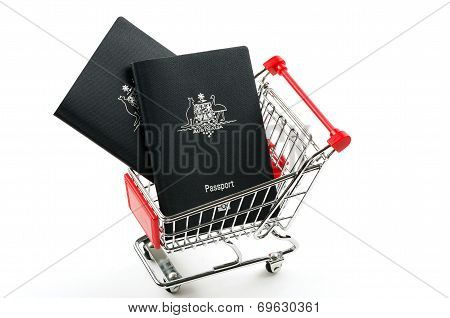 passports and shopping trolley