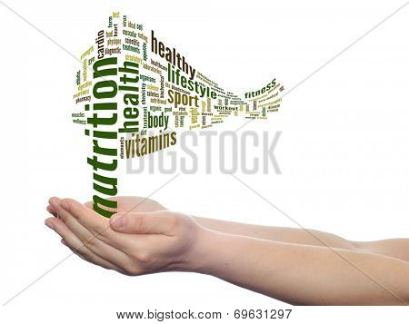 Concept or conceptual abstract nutrition and health word cloud with a hand on touch screen on white background