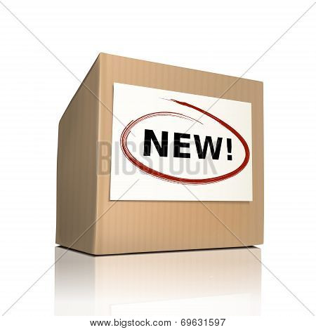 The Word New On A Paper Box