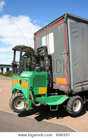 Lorry With Forklift Truck