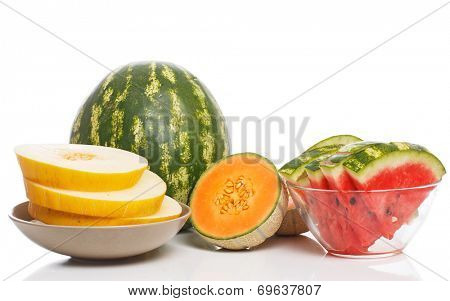 Food, fresh. Watermelon with melon on the table
