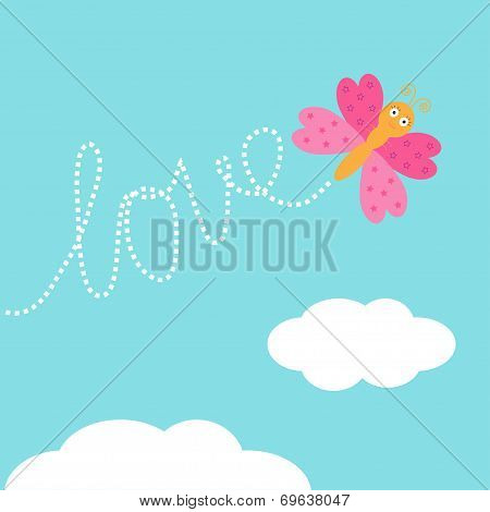Flying Butterfly Insect. Dash Word Love In The Sky. Card Flat Design.