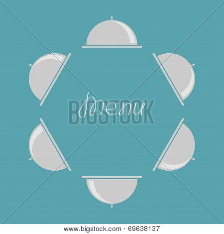 Silver Platter Cloche Round Frame. Flat Design. Menu Cover.