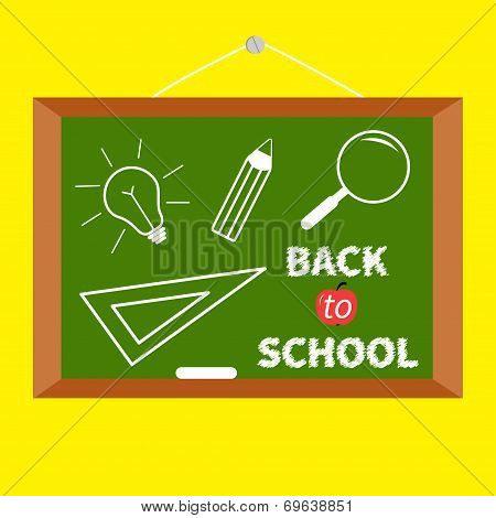 Back To School. Board With Magnifer, Pencil, Light Bulb, Ruller. Flat Design.