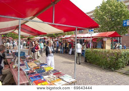 Shopping People At Market Stalls Of Vintage Book Fair