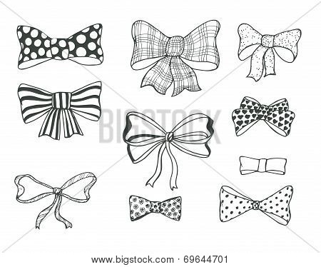 Set of bows, hand drawn