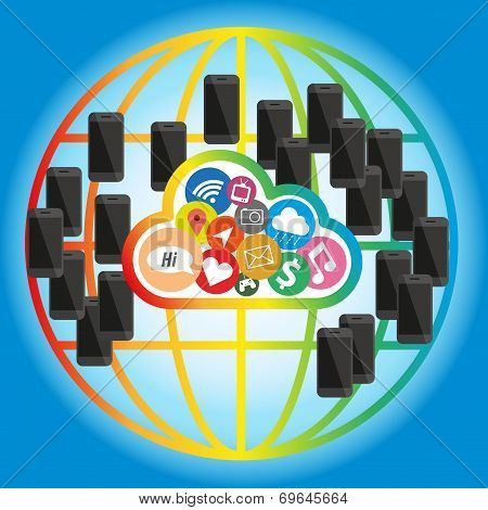 Cloud Concept Network Of Mobile Phone In Global