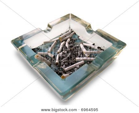 The large glass ashtray