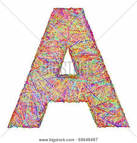 Alphabet Symbol Letter A Composed Of Colorful Striplines