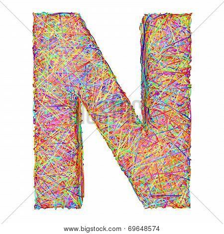 Alphabet Symbol Letter N Composed Of Colorful Striplines
