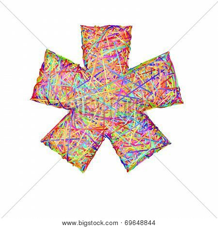 Asterisk Or Star Sign Composed Of Colorful Striplines