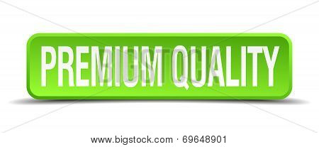 Premium Quality Green 3D Realistic Square Isolated Button