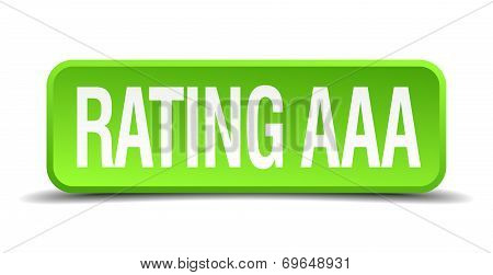 Rating Aaa Green 3D Realistic Square Isolated Button