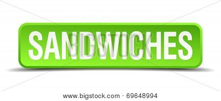 Sandwiches Green 3D Realistic Square Isolated Button
