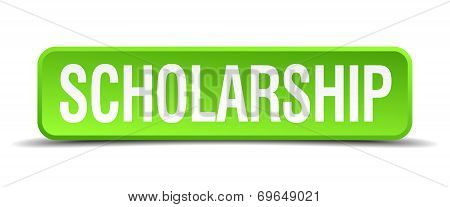 Scholarship Green 3D Realistic Square Isolated Button