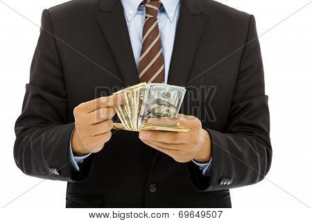 Businessman Counting Us Dollars With White Background.
