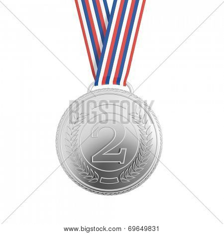 Silver medal with ribbon isolated on white