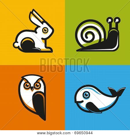 Vector Animal Emblems And Icons In Flat Style