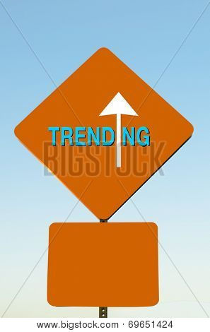 Trending arrow sign with blank rectangle box below to add further text