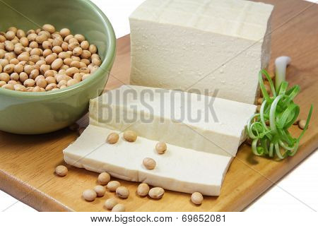 Slices of Tofu and Soybeans