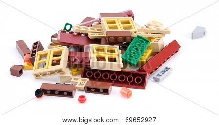 Ankara, Turkey - April 04, 2012: Lego blocks to be assembled to build a house isolated on white background.