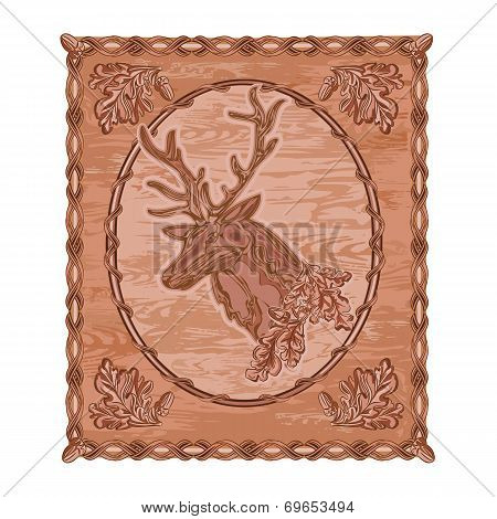 Deer And Oak Woodcarving Vintage Vector