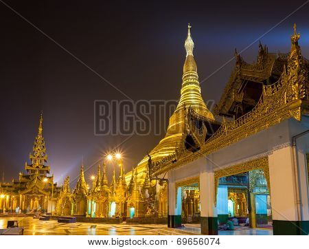 Shwedagon Pagoda At Night Yangon,myanmar