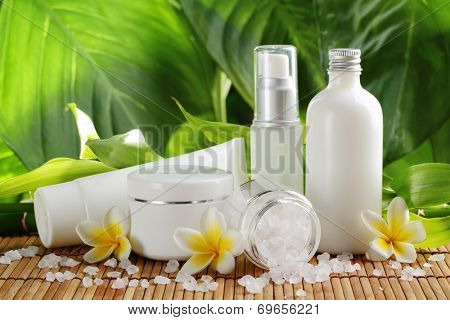 Spa still life with perfume bottles and salt
