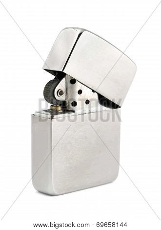 Silver Zippo Lighter On A White Background