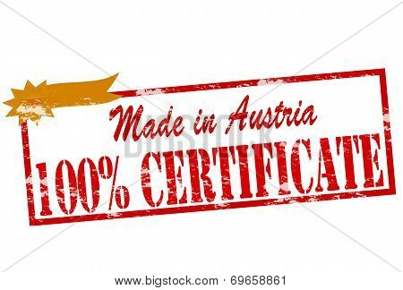Made In Austria One Hundred Percent Certificate